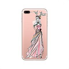 Кейс для Назначение Apple Прозрачный С узором Задняя крышка Соблазнительная девушка Рождество Мягкий Термопластик для iPhone X iPhone 8