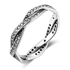 Women's Band Rings Cubic Zirconia Vintage Sterling Silver Irregular Jewelry For Gift