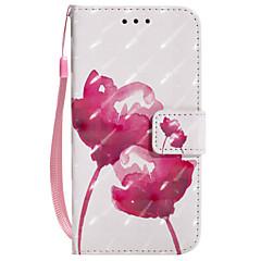 Недорогие Кейсы для iPhone X-Кейс для Назначение Apple iPhone X iPhone 8 Plus Бумажник для карт Кошелек со стендом Флип С узором Чехол Цветы Твердый Кожа PU для