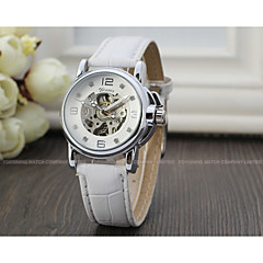 cheap Women's Watches-WINNER Women's Automatic self-winding Wrist Watch Hollow Engraving Leather Band Sparkle Vintage Casual Dress Watch Fashion Cool White