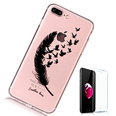 voordelige iPhone 7 hoesjes-hoesje Voor Apple iPhone X iPhone 8 Plus Transparant Patroon Achterkantje Veren Zacht TPU voor iPhone X iPhone 7s Plus iPhone 8 iPhone 7