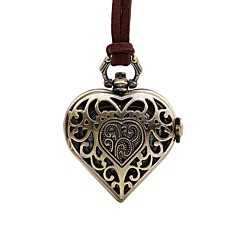 preiswerte Damenuhren-Damen Taschenuhr Quartz Armbanduhren für den Alltag Leder Band Analog Retro Heart Shape Braun - Bronze Ein Jahr Batterielebensdauer