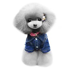 billige Hundetøj og tilbehør-Hund Hættetrøjer Denimjakker Hundetøj Jeans Blå Denimstof Kostume For kæledyr Herre Dame Cowboy Mode