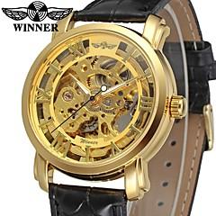 お買い得  メンズ腕時計-WINNER 男性用 ドレスウォッチ リストウォッチ 機械式時計 自動巻き 30 m 透かし加工 レザー バンド ハンズ ぜいたく ヴィンテージ ブラック - ゴールド / ステンレス