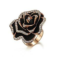 preiswerte Ringe-Damen Kubikzirkonia Schwarz vergoldet Party Modeschmuck