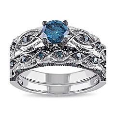 preiswerte Ringe-Damen Synthetischer Aquamarin Bandring - Strass 6 / 7 / 8 Blau Für Hochzeit / Party