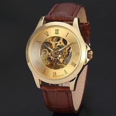 お買い得  メンズ腕時計-WINNER 男性用 リストウォッチ 機械式時計 自動巻き 30 m 透かし加工 レザー バンド ハンズ ぜいたく ヴィンテージ ブラック / ブラウン - ゴールド ブラック