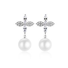 preiswerte Ohrringe-Damen Kubikzirkonia Ohrstecker Tropfen-Ohrringe - versilbert Blattform Süß, Modisch, Elegant Silber Für Hochzeit Party