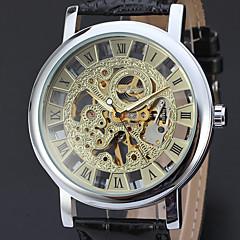 お買い得  メンズ腕時計-WINNER 男性用 リストウォッチ 機械式時計 自動巻き ブラック 30 m 透かし加工 ハンズ ぜいたく ヴィンテージ - ゴールド シルバー ゴールド / シルバー / ステンレス