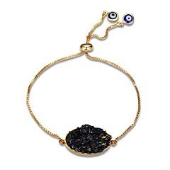 Dames Armbanden met ketting en sluiting Obsidiaan Klassiek Informeel Europees Modieus Oversized Edelsteen Verguld Cirkelvorm Geometrische