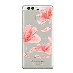 tanie Nowości-Kılıf Na Huawei P9 Huawei P9 Lite Huawei P8 Huawei Huawei P9 Plus Huawei P8 Lite P9 P10 Przezroczyste Wzór Czarne etui Kwiaty Miękkie TPU