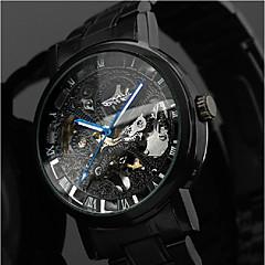 お買い得  メンズ腕時計-WINNER 男性用 リストウォッチ 機械式時計 自動巻き 30 m 透かし加工 ステンレス バンド ハンズ ぜいたく カジュアル ブラック - ブラック Blue / Black シルバー / レッド