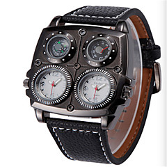 お買い得  メンズ腕時計-男性用 リストウォッチ クォーツ 30 m 耐水 温度計付き コンパス PU バンド ハンズ ファッション ブラック / ブラウン - ブラック コーヒー ブラック / ホワイト