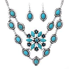 Χαμηλού Κόστους Γυναικεία κοσμήματα-Γυναικεία Κρεμαστά Σκουλαρίκια Κρεμαστά Κολιέ Τιρκουάζ Τυρκουάζ Κράμα Μαργαρίτα Κλασσικό Βίντατζ Καθημερινά 1 Κολιέ Cercei Κοστούμια