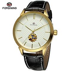 FORSINING Heren Modieus horloge Dress horloge Polshorloge Automatisch opwindmechanisme Hol Gegraveerd Leer Band Luxe Vintage Informeel