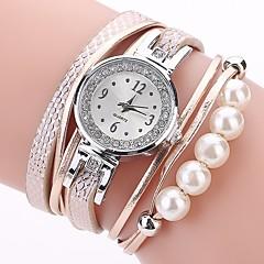 お買い得  大特価腕時計-女性用 ブレスレットウォッチ ダミー ダイアモンド 腕時計 クォーツ 模造ダイヤモンド PU バンド ハンズ カジュアル ボヘミアンスタイル ファッション ブラック / 白 / ブルー - オレンジ ブルー ピンク 1年間 電池寿命