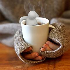 abordables Accesorios para té-1 unid linda bolsa de té de mr.tea bolsita de té de silicona tamiz de filtro infuser bolsa de tetera filtro drinkware pequeña forma de hombre
