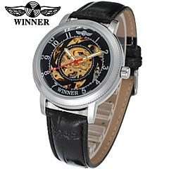 お買い得  レディース腕時計-WINNER 女性用 リストウォッチ 機械式時計 自動巻き 30 m 透かし加工 レザー バンド ハンズ カジュアル エレガント ブラック - ホワイト ブラック