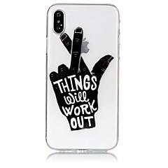 Кейс для Назначение Apple iPhone X iPhone 8 Ультратонкий Прозрачный Рельефный С узором Задняя крышка Слова / выражения Мягкий TPU для