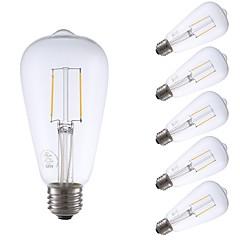 preiswerte LED-Birnen-GMY® 6pcs 2W 220lm E26 LED Glühlampen ST21 2 LED-Perlen COB Abblendbar Edison-Birne Dekorativ LED-Lampe Warmes Weiß 110-130V