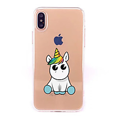 cheap iPhone Cases-Case For Apple iPhone X iPhone 8 Transparent Pattern Back Cover Unicorn Cartoon Soft TPU for iPhone X iPhone 8 Plus iPhone 8 iPhone 7