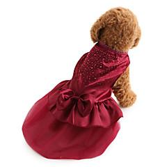 お買い得  犬用ウェア&アクセサリー-犬 ドレス 犬用ウェア ソリッド スパンコール レッド ブルー テリレン コスチューム ペット用 女性用 ホリデー ファッション 結婚式