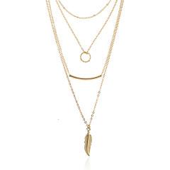 お買い得  ネックレス-女性用 円形 リーフ 幾何学形 シンプル ベーシック ペンダントネックレス カラー , 合金 ペンダントネックレス カラー 、 デート ストリート