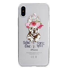 Недорогие Кейсы для iPhone X-Кейс для Назначение Apple iPhone X iPhone 8 Ультратонкий Полупрозрачный С узором Задняя крышка С собакой Мягкий TPU для iPhone X iPhone 8