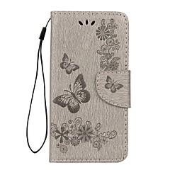 voordelige Hoesjes / covers voor Huawei-hoesje Voor Huawei P8 Lite (2017) P10 Lite Portemonnee Kaarthouder met standaard Flip Reliëfopdruk Volledige behuizing Vlinder Hard
