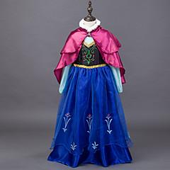Χαμηλού Κόστους Αποκριάτικο Μακιγιάζ-Πριγκίπισσα Παραμυθιού Άννα Φορέματα Μανδύας Παιδικά Χριστούγεννα Μασκάρεμα Γενέθλια Γιορτές / Διακοπές Κοστούμια Halloween Μπλε