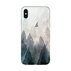 Недорогие Кейсы для iPhone 5-Кейс для Назначение Apple iPhone X iPhone 8 Plus Прозрачный С узором Кейс на заднюю панель дерево Мягкий ТПУ для iPhone X iPhone 8 Pluss