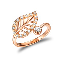 Women's Cuff Ring Cubic Zirconia Fashion European Copper Leaf Jewelry Daily Going out
