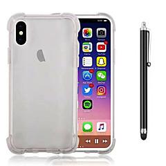 Кейс для Назначение Apple iPhone X iPhone 8 Plus Защита от удара Прозрачный Задняя крышка Сплошной цвет Мягкий TPU для iPhone X iPhone 8