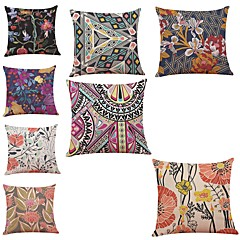 abordables Almohadas-8.0 PC Lino Cobertor de Cojín, Floral Geométrico Art Decó