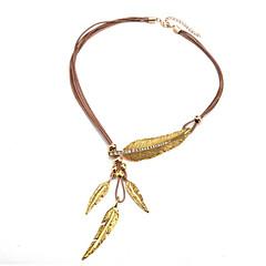 preiswerte Halsketten-Damen Synthetischer Diamant Anhängerketten - Zirkon, Leder Blattform Einfach, Klassisch, Modisch Schwarz, Kaffee Modische Halsketten Schmuck Ein Panel Für Alltag, Formal