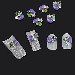 10db 3d ötvözet kocka ékszerek lila csillogás strassz köröm művészet tippek dekoráció