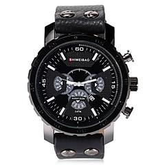 お買い得  メンズ腕時計-SHI WEI BAO 男性用 スポーツウォッチ 軍用腕時計 リストウォッチ クォーツ カレンダー パンク 大きめ文字盤 レザー バンド ハンズ カジュアル ブラック / ブラウン - ブラック Brown ブルー 1年間 電池寿命 / SSUO 377
