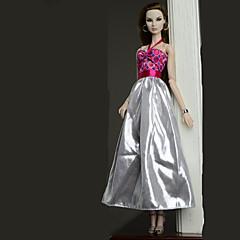 abordables Ropa para Barbies-Vestidos Vestir por Muñeca Barbie  Plata Vestido por Chica de muñeca de juguete