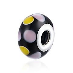 お買い得  ビーズ&ジュエリー製作-DIYジュエリー 1 個 ビーズ ガラス シルバー ブラック ボール型 ビーズ 1.5 cm DIY ネックレス ブレスレット