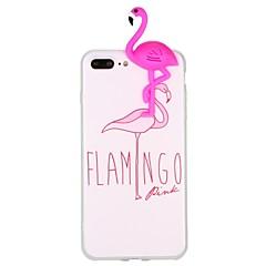 Недорогие Кейсы для iPhone 6 Plus-Кейс для Назначение Apple iPhone 6 iPhone 7 С узором Своими руками Кейс на заднюю панель Фламинго 3D в мультяшном стиле Животное Мягкий