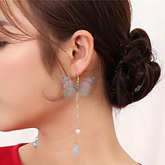 preiswerte Ohrringe-Damen Kristall Tropfen-Ohrringe Ohrringe baumeln - Krystall, Künstliche Perle Schmetterling überdimensional Grün / Blau / Rosa Für Party Valentinstag