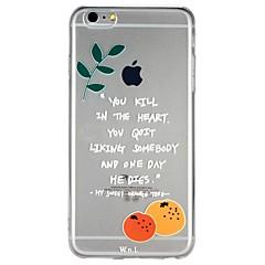 Недорогие Кейсы для iPhone X-Кейс для Назначение Apple iPhone 6 iPhone 7 Полупрозрачный С узором Рельефный Кейс на заднюю панель Слова / выражения Фрукты