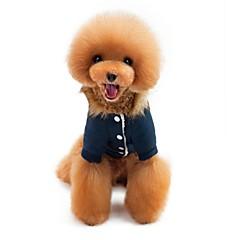 お買い得  猫の服-ネコ 犬 コート パーカー ジャンプスーツ 犬用ウェア カジュアル/普段着 保温 新年 ブリティッシュ ダークブルー レッド コスチューム ペット用
