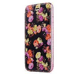 Недорогие Кейсы для iPhone 7 Plus-Кейс для Назначение Apple iPhone X iPhone 8 Бумажник для карт Стразы Покрытие Флип С узором Чехол Цветы Сияние и блеск Твердый Кожа PU для