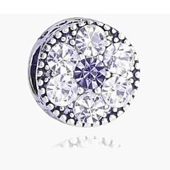 billige Perler- og smykkedesign-DIY Smykker 1 Stk. Perler Simuleret diamant Legering Sølv Rund bead 0.2 cm gør det selv Halskæder Armbånd