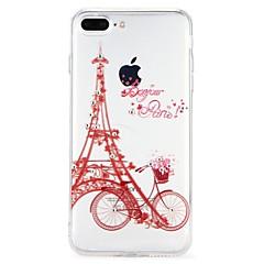 Недорогие Кейсы для iPhone-Кейс для Назначение Apple iPhone 6 iPhone 7 Стразы Рельефный Кейс на заднюю панель Эйфелева башня Мультипликация Мягкий ТПУ для iPhone 8