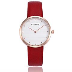 preiswerte Damenuhren-Damen Armbanduhr Chinesisch Armbanduhren für den Alltag Echtes Leder Band Freizeit / Minimalistisch Schwarz / Weiß / Rot
