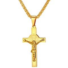 Муж. Жен. Крест Хип-хоп Cool Ожерелья с подвесками , Нержавеющая сталь Ожерелья с подвесками , Повседневные
