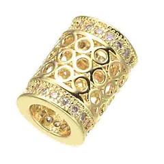 billige Perler og smykkemaking-DIY Smykker 1 stk Perler Fuskediamant Legering Gull Sølv Rose Gull Sylinder Perlene 0.5 cm DIY Halskjeder Armbånd