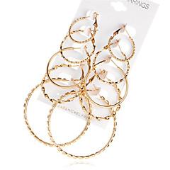 preiswerte Ohrringe-Damen Kreolen - vergoldet Erklärung, Modisch, überdimensional Gold Für Party Abiball / 10 Stück